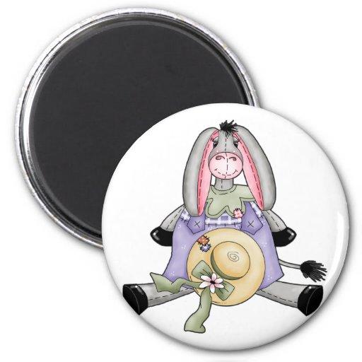 Whimsical Spring Donkey Magnet