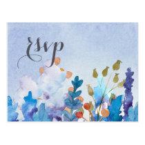 Whimsical Spring Floral Wedding rsvp Postcard