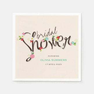 Whimsical Spring Flowers Chic Bridal Shower Party Paper Napkin