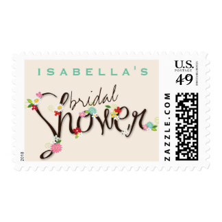 Whimsical Spring Flowers Chic Bridal Shower Stamps