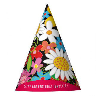 Whimsical Spring Flowers Garden Birthday Party Hat