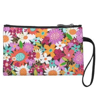 Whimsical Spring Flowers Garden Chic Clutch Bag Wristlet Clutches