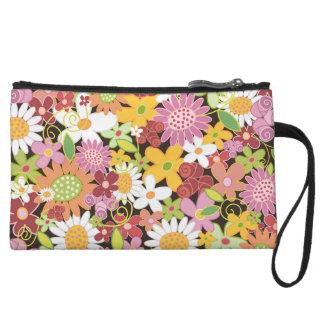 Whimsical Spring Flowers Garden Clutch Bagettes Wristlet Purse