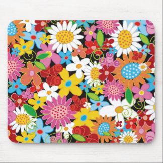 Whimsical Spring Flowers Garden Daisies Mousepad