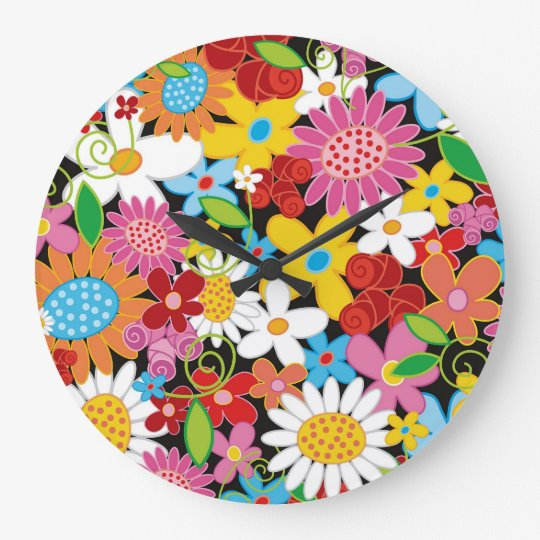 Whimsical Spring Flowers Garden Floral Wall Clock