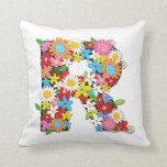 Whimsical Spring Flowers Garden Monog - Customized Pillows