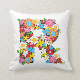 Whimsical Spring Flowers Garden Monog - Customized Pillow