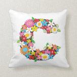 Whimsical Spring Flowers Garden Monogram Pillow