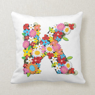 Whimsical Spring Flowers Garden Monogram Pillow