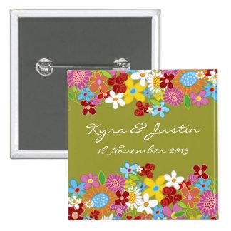 Whimsical Spring Flowers Garden Wedding Button