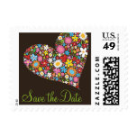 Whimsical Spring Flowers Heart Love Save The Date Stamp