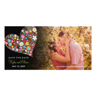 Whimsical Spring Flowers Heart Photo Save The Date Custom Photo Card