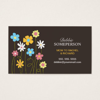 Whimsical Spring Flowers Mom Calling Cards