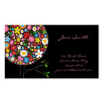Whimsical Spring Flowers Pop Tree Businesscard Double-Sided Standard Business Cards (Pack Of 100)