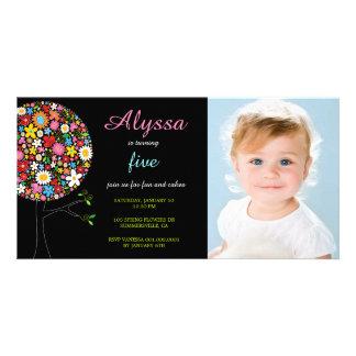 Whimsical Spring Flowers Pop Tree Girl Birthday Photo Card