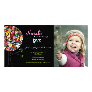 Whimsical Spring Flowers Pop Tree Kid Birthday Photo Card