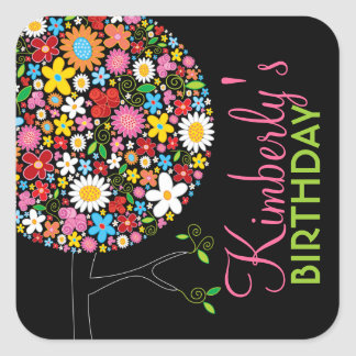Whimsical Spring Flowers Pop Tree Kid Birthday Square Sticker