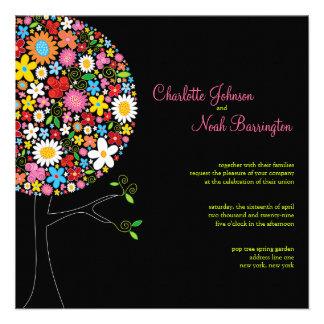 Whimsical Spring Flowers Pop Tree Wedding Invite Custom Announcement