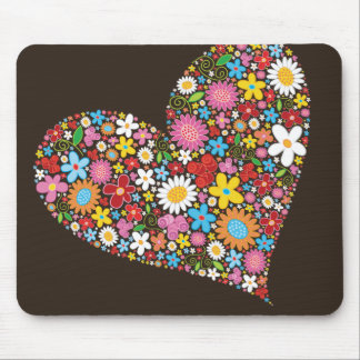 Whimsical Spring Flowers Valentine Cute Heart Love Mouse Pad