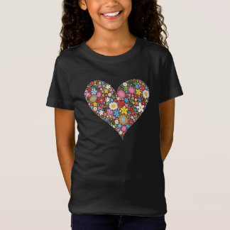 Whimsical Spring Flowers Valentine Cute Heart Love T-Shirt