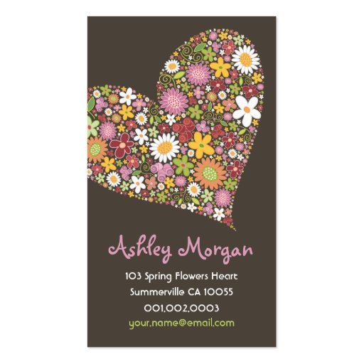 Whimsical Spring Flowers Valentine Heart Love Double-Sided Standard Business Cards (Pack Of 100)