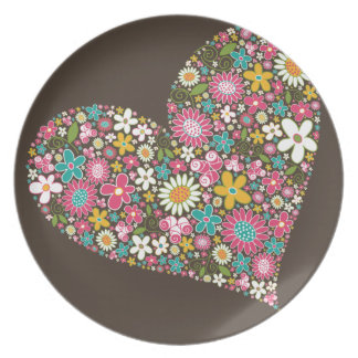 Whimsical Spring Flowers Valentine Heart Plate