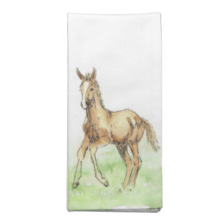 Whimsical Spring Horse Foal Cloth Napkin
