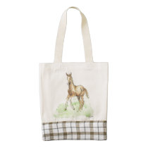 Whimsical Spring Horse Foal Zazzle HEART Tote Bag