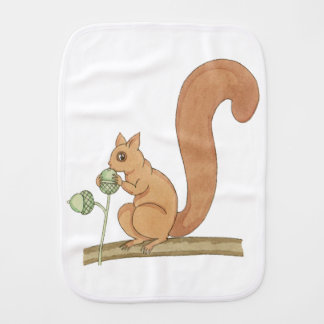 Whimsical Squirrel + Acorns by Tom Seidmann Freud Burp Cloth