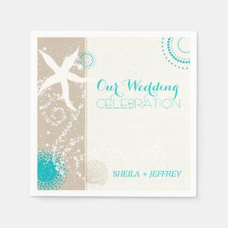 Whimsical Starfish + Beach Sand Wedding Napkin