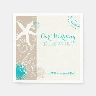 Whimsical Starfish + Beach Sand Wedding Napkins Disposable Napkin