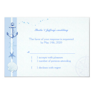 Whimsical Starfish n Anchor Nautical Wedding RSVP Card
