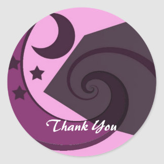 Whimsical Stars and Moon Thank You Classic Round Sticker