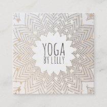 Whimsical Stars Lotus Mandala Flower Yoga Teacher Square Business Card