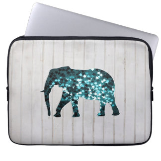 Whimsical Stars Sparkles Elephant Silhouette Computer Sleeve