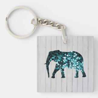 Whimsical Stars Sparkles Elephant Silhouette Keychain