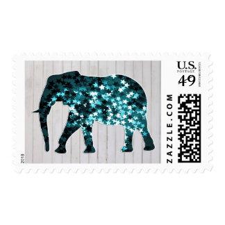 Whimsical Stars Sparkles Elephant Silhouette Postage