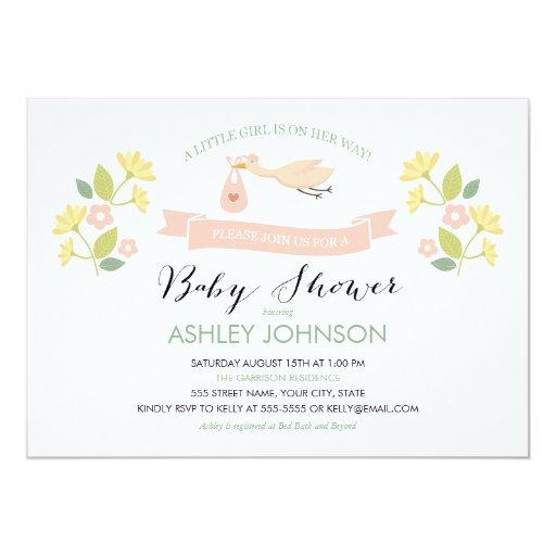Whimsical stork baby shower invitation zazzle for Baby shower stork decoration