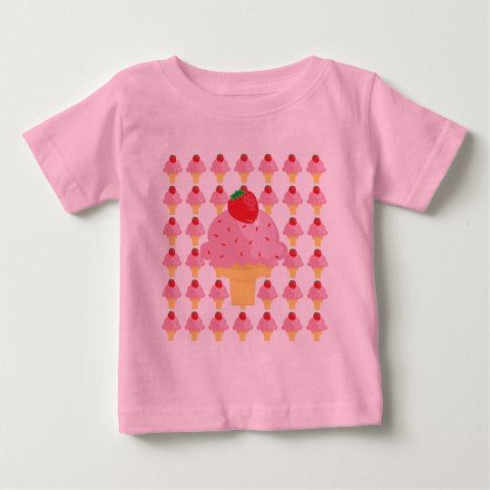 Whimsical Strawberry Ice Cream Design T-Shirt