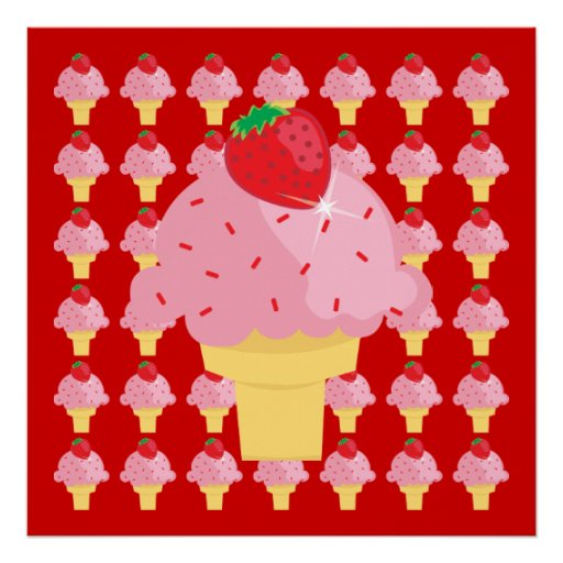 Whimsical Strawberry Ice Cream Poster Print