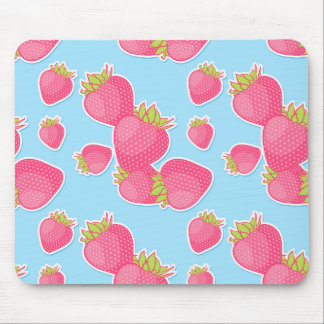 Whimsical Strawberry Pattern on Blue Mouse Pad