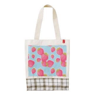 Whimsical Strawberry Pattern on Blue Zazzle HEART Tote Bag