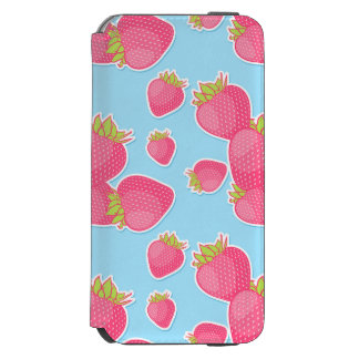 Whimsical Strawberry Pattern on Blue Incipio Watson™ iPhone 6 Wallet Case