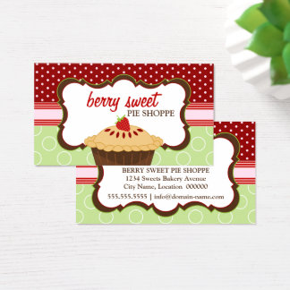 Whimsical Strawberry Pie Bakery Business Card