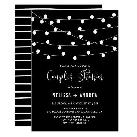 Whimsical String Lights Black Couples Shower Invitation