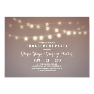 whimsical string lights engagement party invites