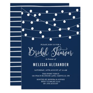 Whimsical String Lights Navy Blue Bridal Shower Invitation