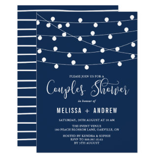 Whimsical String Lights Navy Blue Couples Shower Card