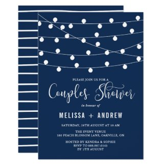 Whimsical String Lights Navy Blue Couples Shower Invitation