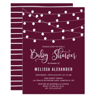 Whimsical String Lights Purple Baby Shower Card
